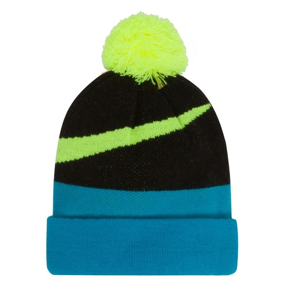 Nike Beanie Winter Pom Hat Boys Girls Teal Black b8e78ee3833